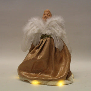 UK-Gardens 30cm Gold Fairy Angel Tree Topper with LED Battery Operated Lights