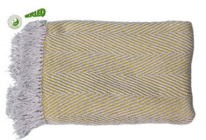 UK Gardens 130m Chevron Throw Grey Yellow Recycled Textiles