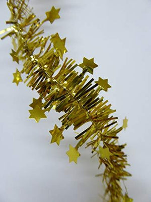 10m Mini Star Red / Gold / Silver Tinsel Christmas Decoration Xmas Tree Garland - 10 Metres (Gold)