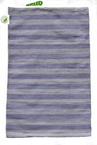 UK Gardens 60cm Stripe Rug Pale Blue Recycled Textiles 12 Lines