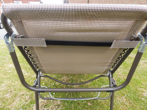 SET OF 2 Beige Padded Folding Garden Sun Loungers Sun Bed Reclining Chair