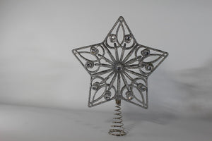 SILVER 27cm Jewelled Tree Topper Star