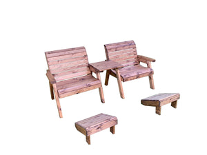 UK-Gardens Outdoor Wooden Extra Wide Armchairs with Detachable Straight Tray and Footstools