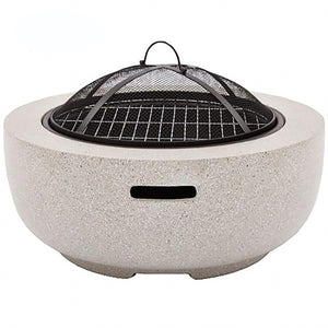 UK-Gardens Round Steel Firepit BBQ Charcoal Grill with Mesh Guard Grey
