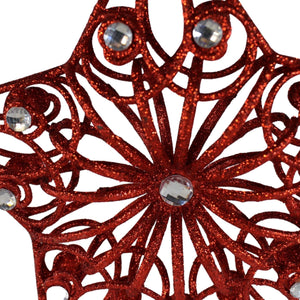 RED 27cm Jewelled Tree Topper Star