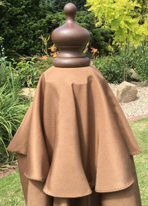 Large Hardwood 3.5m Pulley Garden Parasol - Brown