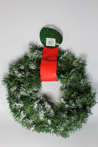 "UK-Gardens Christmas 18"" Artificial Wreath Norway Spruce Plain Snowy"