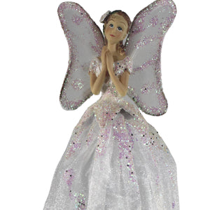 25cm White Praying Angel Tree Fairy Tree Topper Christmas Decoration