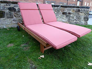 UK-Gardens Wooden Wheeled Sun Lounger with Slide out Table and Cushion (Terracotta)