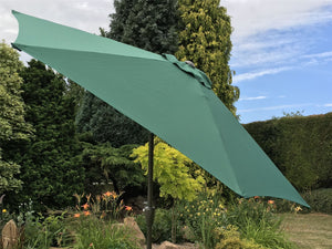 Large 2m Green Crank And Tilt Garden Parasol Umbrella 200cm  Metal Pole
