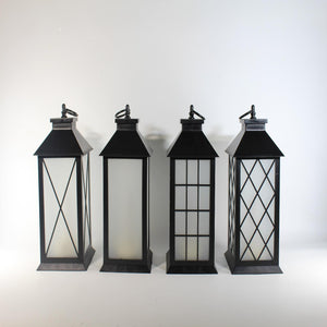 UK-Gardens 28cm Black Cross Lantern with Flickering Candle Flame Effect BO