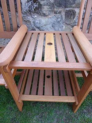 UK-Gardens Heavy Duty Brown Wooden Garden Love Seat Bench With Parasol Hole and Table (Love Seat CREAM Cushions)