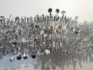 10m Mini Star Red / Gold / Silver Tinsel Christmas Decoration Xmas Tree Garland - 10 Metres (Silver)