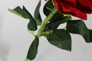 30cm High Quality Single Red Rose Velvet Artificial Flower Stem for Valentine Wedding Bouquet