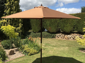 Large Hardwood 3m Brown Wooden Pulley Garden Parasol Umbrella