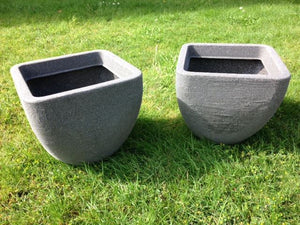 SET of 2 - Square Top Round Base Planter