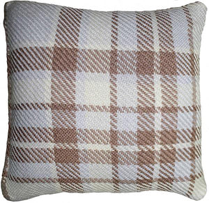 UK Gardens 40cm Tartan Beige Recycled Scatter Cushion