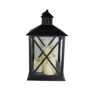 UK-Gardens Black 40cm Lantern With 3 Flickering LED Battery Operated Candles