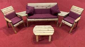 Set of 2 Armchairs with Angled Trays, Rectangle Coffee Table, 3 Seater Bench with Burgundy Cushions | UK-Gardens.co.uk
