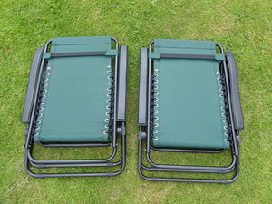SET OF 2 Green Garden Sun Lounger Relaxer Recliner Garden Chairs