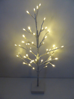 60cm Silver Twig Tree Bright White Lights Christmas Decoration BO