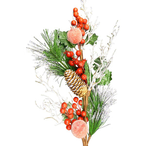 70cm Artificial Berry and Frosted Apple Stem Christmas Decoration