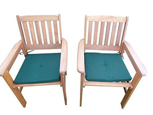UK-Gardens SET OF 2 Wooden Garden Dining Chair Armchairs With GREEN Cushions