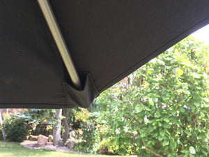 Large Black 2.7m Crank And Tilt Garden Parasol Umbrella