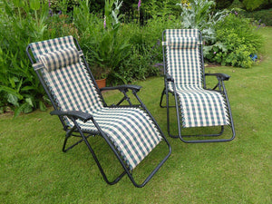 Set of 2 GREEN CHECK Padded Garden Recliner Lounger Chairs