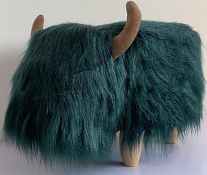 UK Gardens 61cm Teal Highland Cow Synthetic Fur Footstool Furniture
