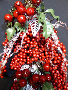 60cm Artificial Red Berry, Holly and Silver Twig Swag