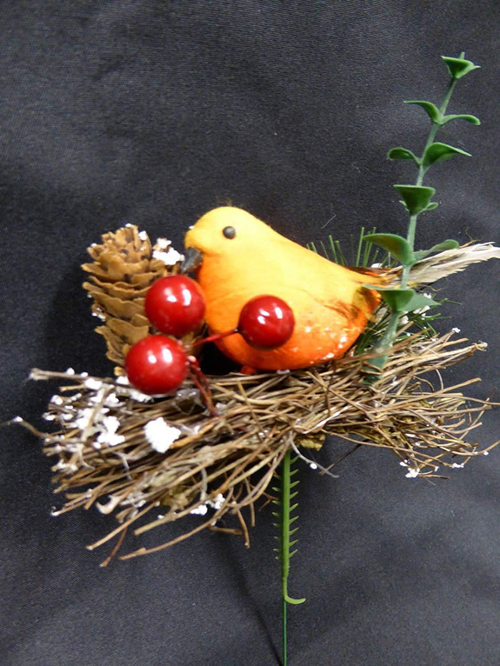 12cm Robin on Twig Nest Pick Stem Christmas Decoration
