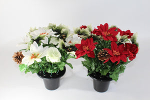 Christmas Poinsettia Cone Artificial Silk Flower Arrangement Memorial Grave Pot Plant 2 Variations