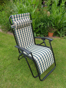 GREEN CHECK Padded Garden Recliner Lounger Chair