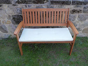 UK-Gardens Heavy Duty Wooden 2 Seater Garden Bench with CREAM Bench Cushion