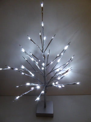 60cm Metallic LED Light Tree Xmas Decoration 2 Cols Champ Gold Silver