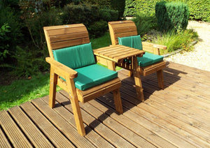 Set of 2 Armchairs with Straight Tray and Green Cushions | UK-Gardens.co.uk