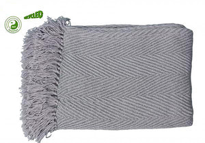 UK Gardens 130cm Chevron Throw Grey and Pale Green Recycled Textiles
