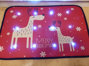 Reindeer Musical Christmas Door Mat With LED Lights 60 x 40