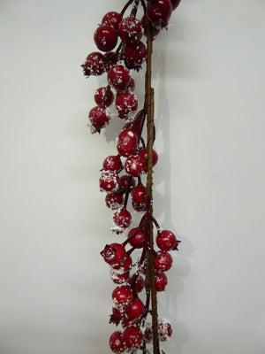 180cm 6ft Luxury Red Snow Berry Artificial Christmas Garland Xmas
