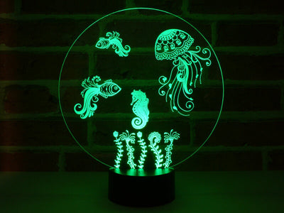 Lampe Illusion Led Aquarium, en verre acrylique gravée au laser