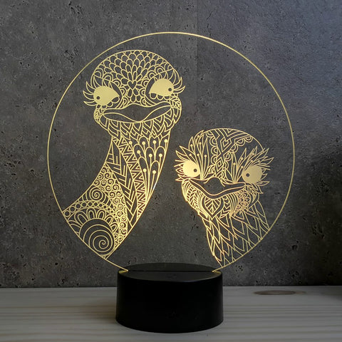 Image of Lampe Illusion Led Autruches, en verre acrylique gravée au laser