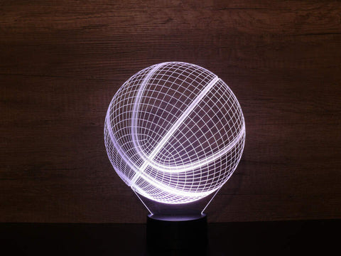 Image of Lampe Illusion Led 3D Ballon de Basket, en verre acrylique gravée au laser