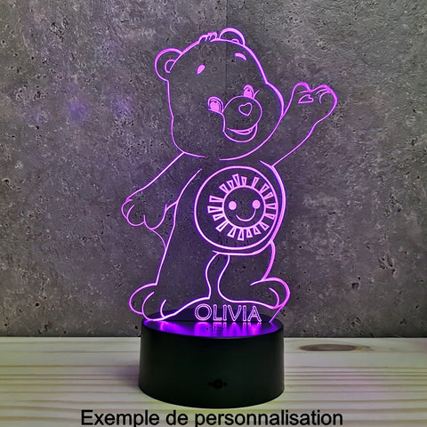 Image of Lampe Bisounours Illusion Led , en verre acrylique gravée au laser