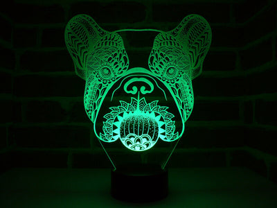 Lampe Illusion Led Bouledogue, en verre acrylique gravée au laser