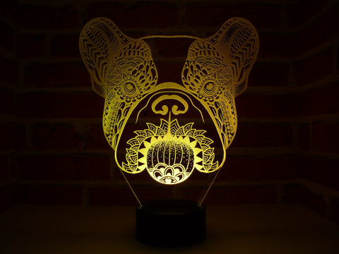 Image of Lampe Illusion Led Bouledogue, en verre acrylique gravée au laser