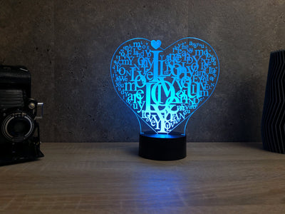 Lampe Plexi Led Coeur I Love You