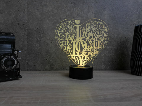 Image of Lampe Plexi Led Coeur I Love You