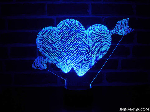 Image of Lampe Illusion Led 3D Double Coeur, en verre acrylique gravée au laser