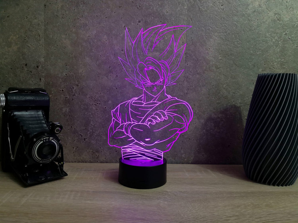 Lampe Illusion Led Dragon Ball Z, en verre acrylique gravée au laser